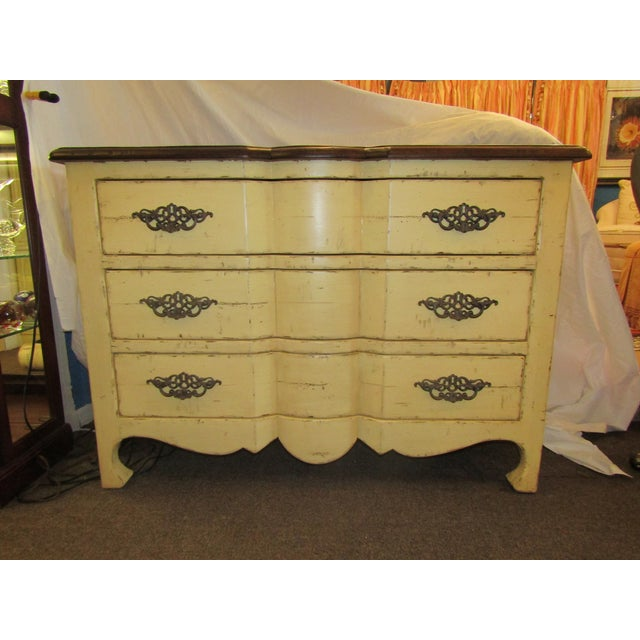 Century Furniture Yellow Paint Rustic Chest of Drawers - Image 2 of 6