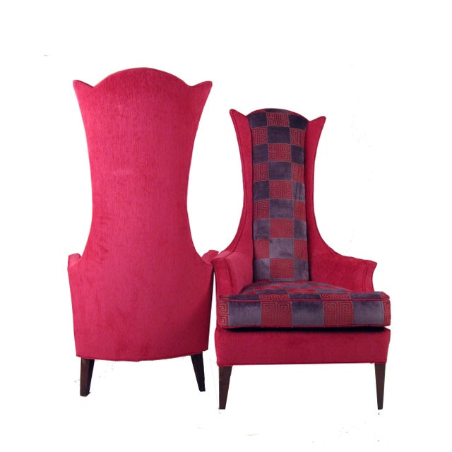 Hot Pink Greek Key Highback Wing Chairs - Pair - Image 5 of 7