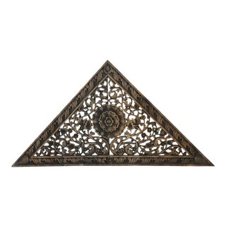 Antique Burn Triangle Carved Panel Medium