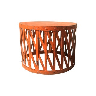 Orange Metal Drum Table