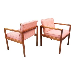 George Nelson Walnut Club Chairs - A Pair