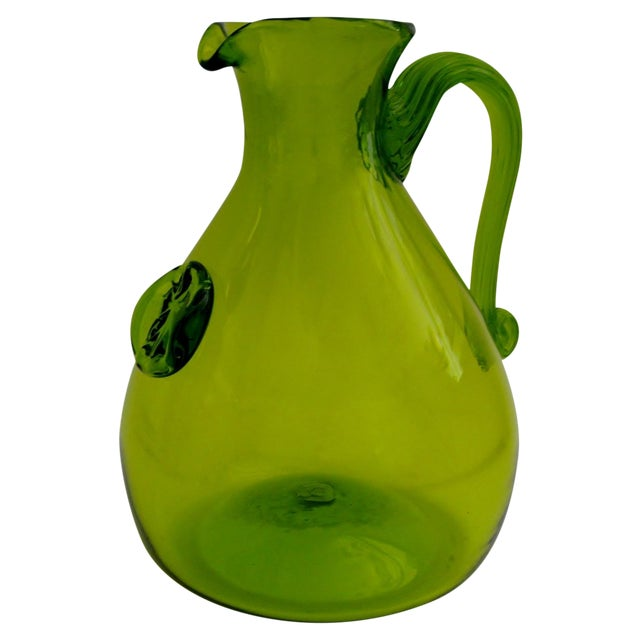 Green Glass Pitcher - Image 1 of 5