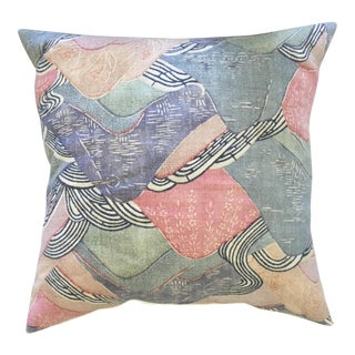 Abstract Pastel Linen Throw Pillow