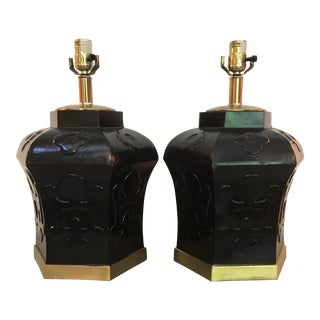 Vintage Brass Canister Lamps - A Pair