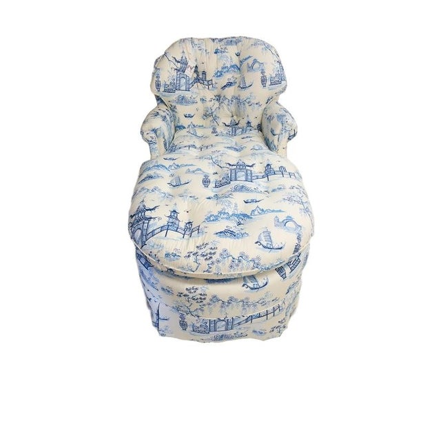 Image of Chintz Chinoiserie Upholstered Lounge Chair