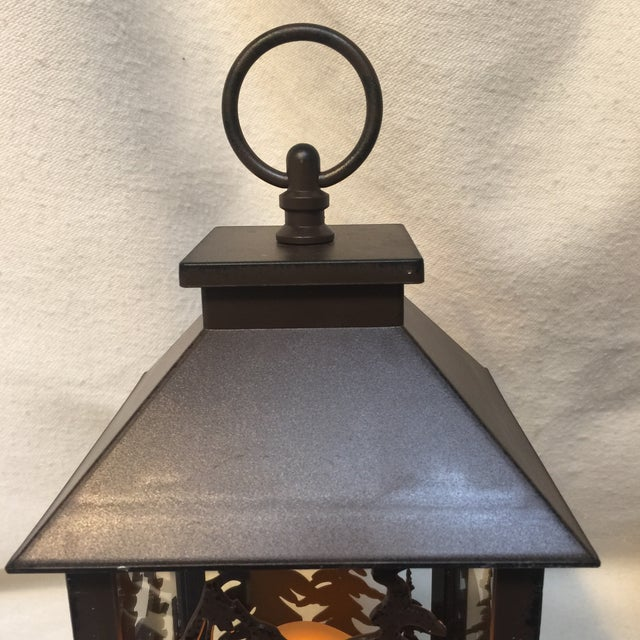 Metal & Glass Forest Silhouette Lanterns - A Pair - Image 7 of 10
