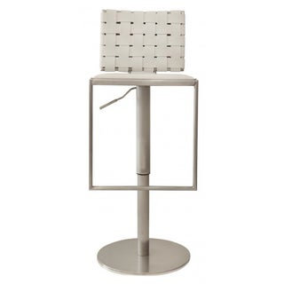 Modani White Woven Leather Bar Stools - A Pair