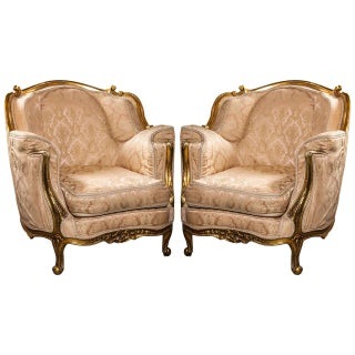 Louis XV Style Giltwood Bergere Chairs - A Pair