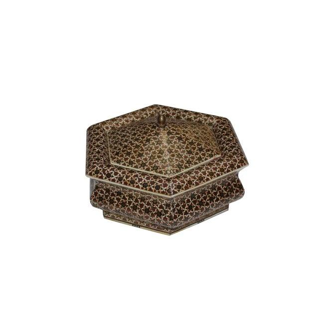 Hexagonal Wood Inlaid Box - Image 1 of 4