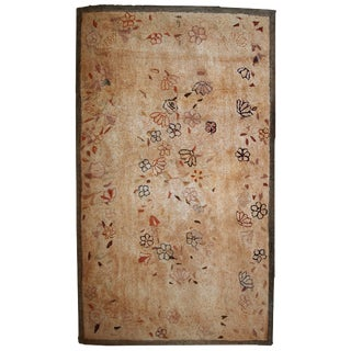1880s Antique American Hooked Rug- 4′ × 6′10″