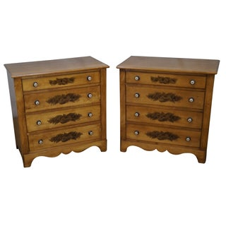 Hitchcock Maple Stenciled Bachelors Chests - Pair