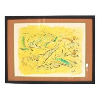 "Allan Cox Asian Mono Print ""Tidal Confluence"""