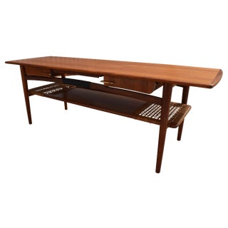 Vintage Danish Modern Teak & Cane Coffee Table