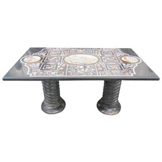 Pietra Dura Italian Inlaid Marble Top Dining Table