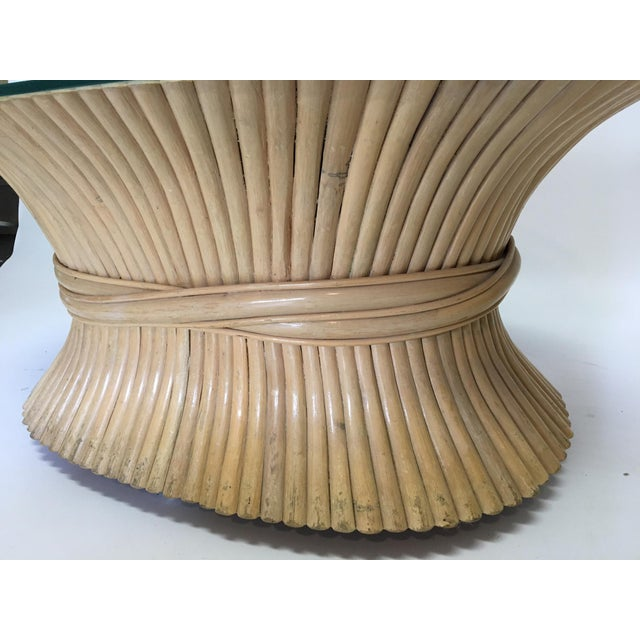 Sheaf of Wheat Rattan Oval Coffee Table - Image 4 of 7