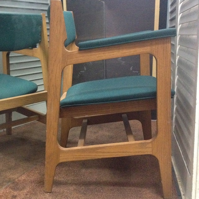 Teal Mid-Century Modern Arm Chairs - Set of 4 - Image 3 of 6