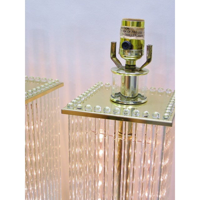 Sciolari-Style Vintage Glass Rod Lamps - A Pair - Image 5 of 8
