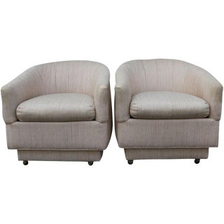 Blush Barrel Back Club Chairs - A Pair