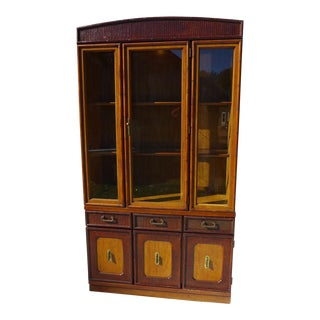 Two-Piece Faux Bamboo Broyhill Hutch