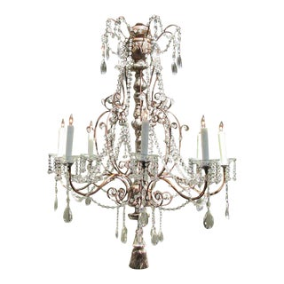 19th Century Italian Baroque Silver Leaf and Crystal Chandelier with Tassel