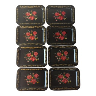 Red Rose Tole Trays - Set of 8