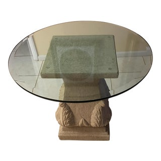 Stone Base Glass Top Table