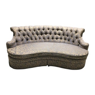 Hollywood Regency Tufted Curved Sofa