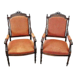 French Louis XVI Style Carved Fauteuil Armchairs- A Pair