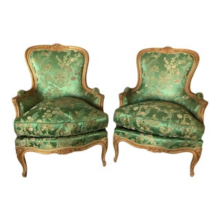 French Jansen Louis XV Style Bergère Chairs in Fine Fabric - A Pair