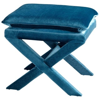 Upholstered X-Bench - Blue