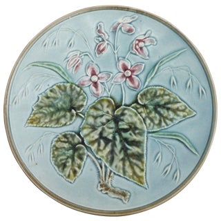 German Majolica Pink Flowers Plate Circa 1900