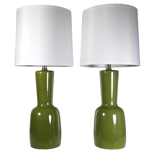 Vintage Green Table Lamps - A Pair