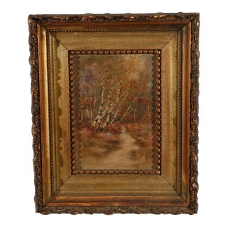 19thc. American Artist Painting with Gilded Frame