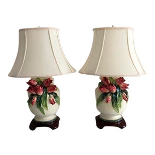 Ginger Jar Parrot Tulip Barbotine Lamp - A Pair