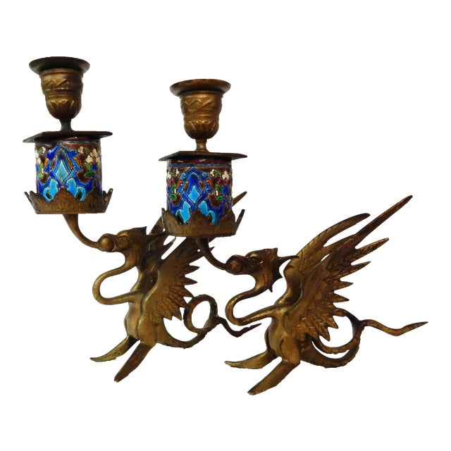 French Gothic Gargoyle Candle Holders - A Pair - Image 1 of 7