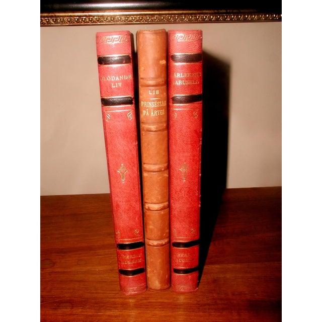 Image of Swedish 1922 Leather Display Books - Set of 3