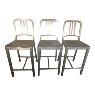Emeco 1006 Navy Counter Stools - Set of 3