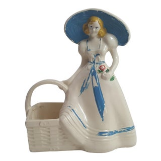 Blue Girl With Basket Planter