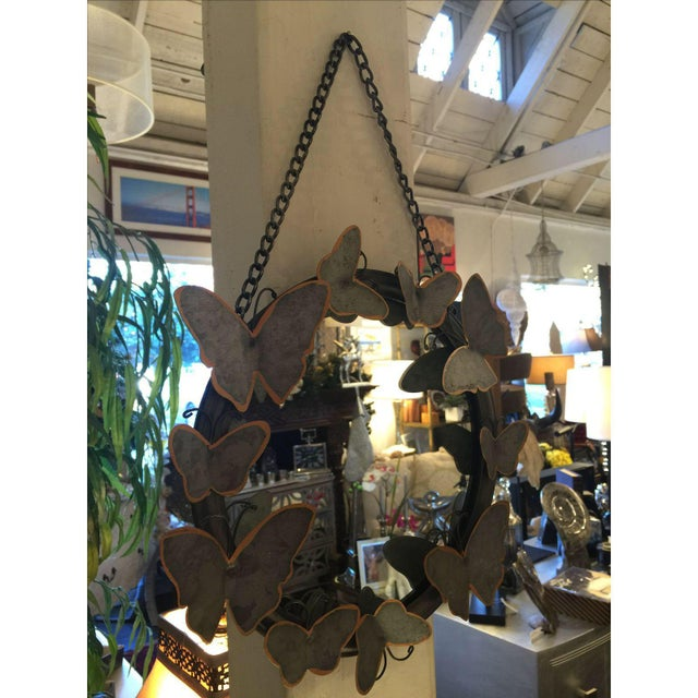 Antiqued Metal Butterfly Mirror - Image 4 of 4