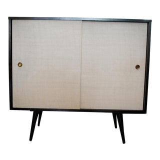 Paul McCobb Grass Cloth Sliding Door Console Cabinet