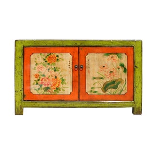 Lime Green & Orange Flower Side Table or Cabinet