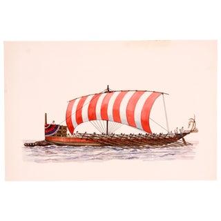 Greek Bireme Rowboat Watercolor