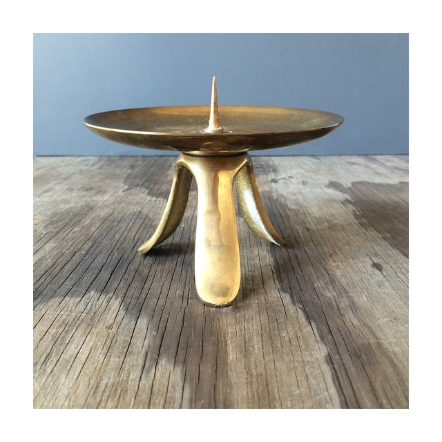 Mid-Century 1950s Brass Pillar Candle Holder - Image 2 of 4