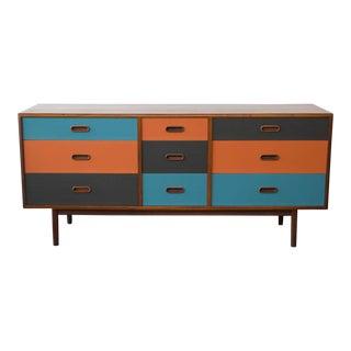 Lacquered Danish Modern Nine-Drawer Dresser
