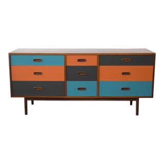 Lacquered Danish Modern Nine-Drawer Dresser