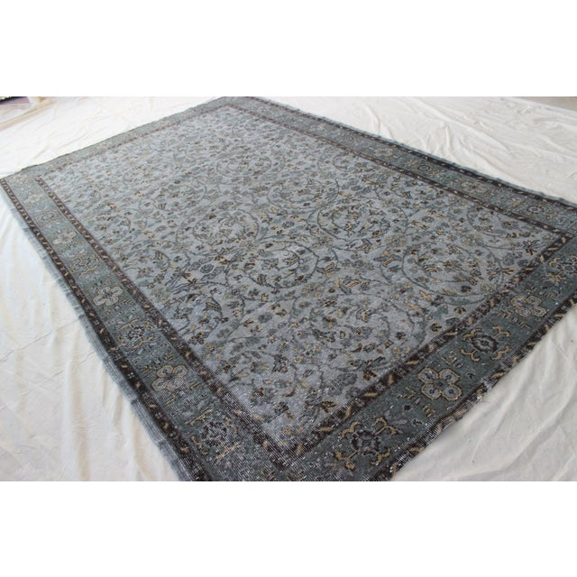 "Vintage Gray Turkish Over-Dyed Rug - 6' x 9'3"" - Image 4 of 10"