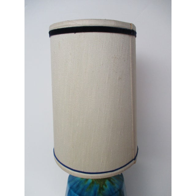 Mid Century Modern Turquoise Ceramic Table Lamp