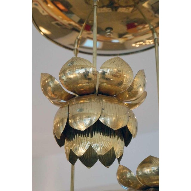 Triple Light Brass Lotus Pendant - Image 7 of 8