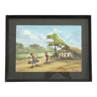 Vintage African Village Watercolor Painting