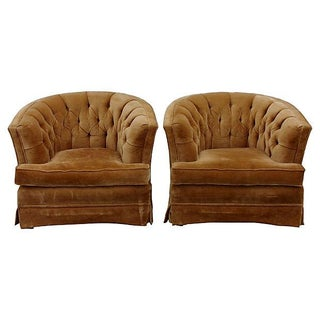 Tufted Back Velvet Lounge Chairs - Pair